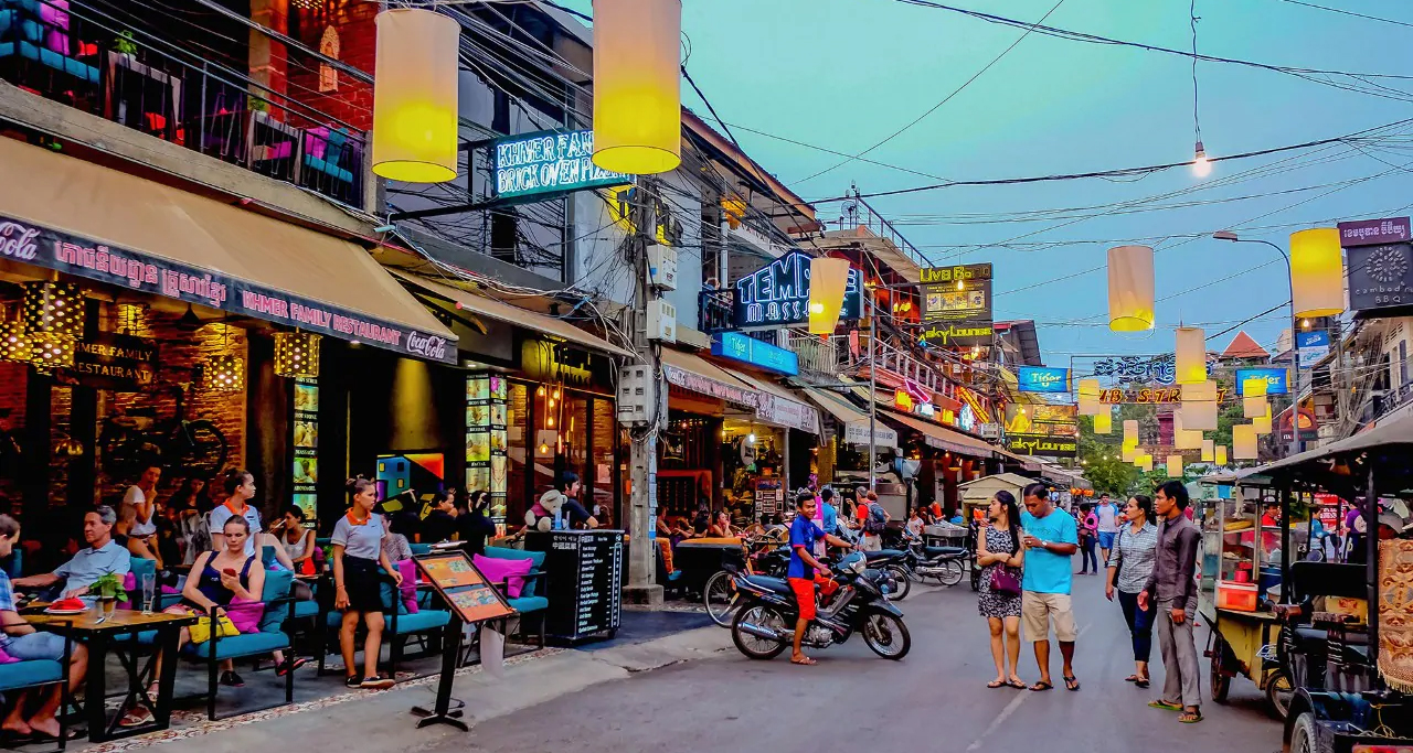 Pub Street – the legendary party road in Siem Reap at night time.