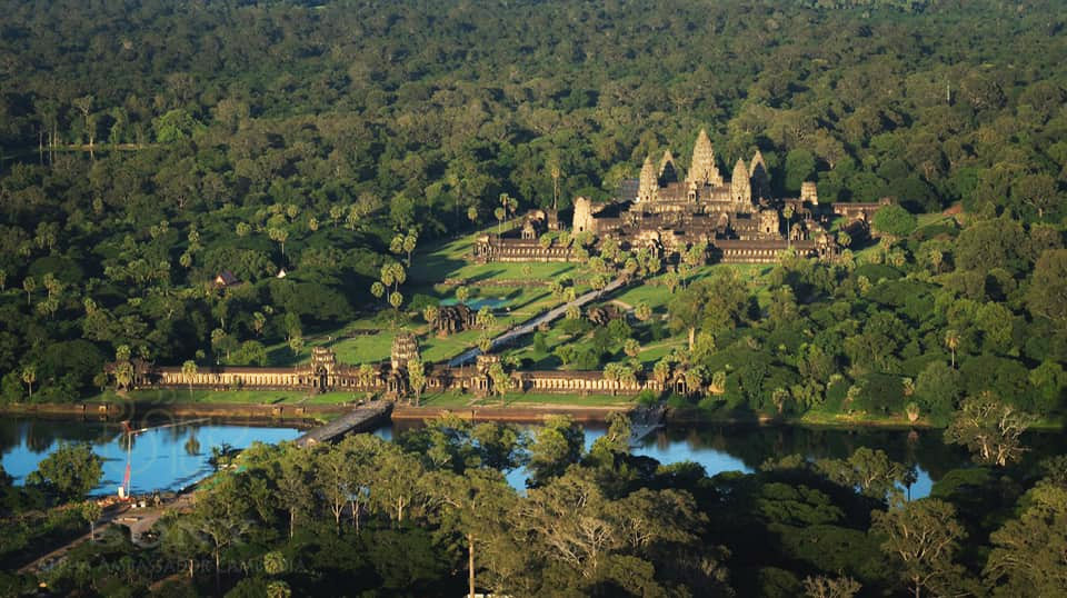 Magnificent overview of Angkor Wat from above.