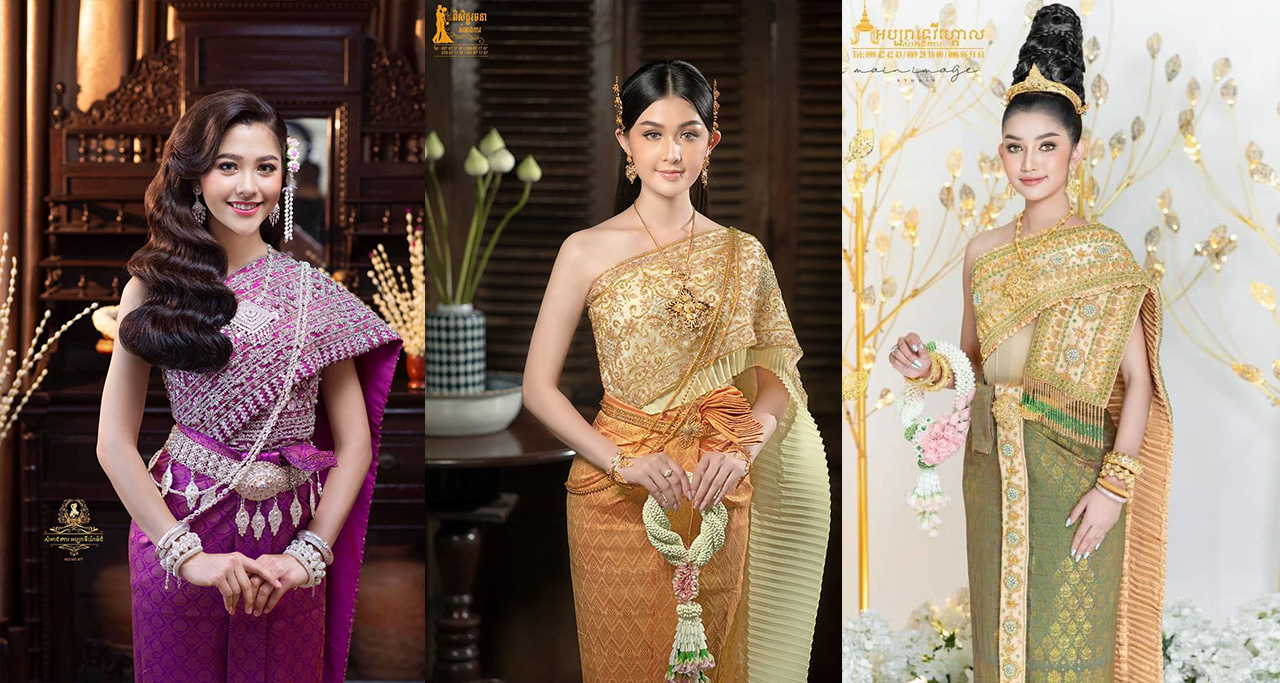 Khmer women look gorgeous in Cambodian traditional costumes.