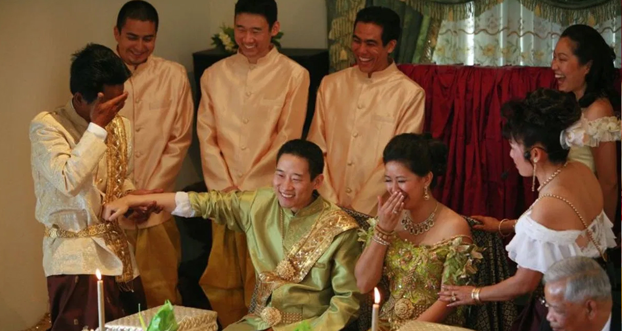 Wedding Ceremony in Cambodia: Close friends give best wishes for the newlywed couple.