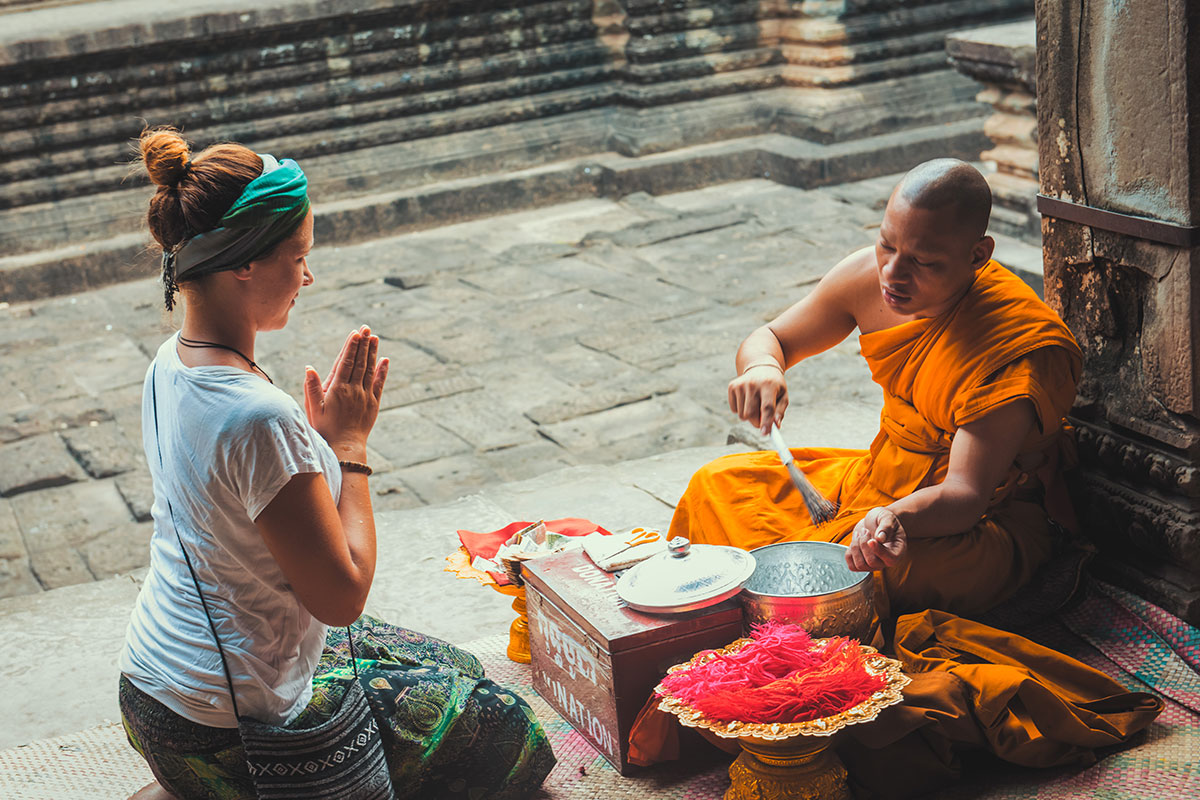 Blessed by Buddhist Monk in Angkor Wat.