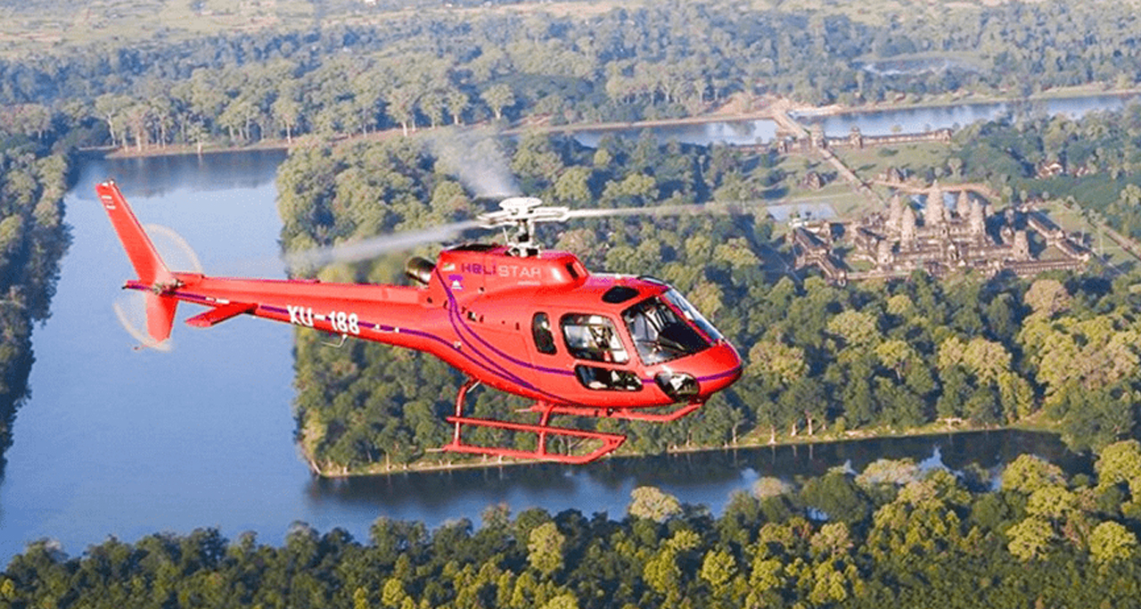 Helistar Cambodia offers helicopter scenic tours above Angkor.
