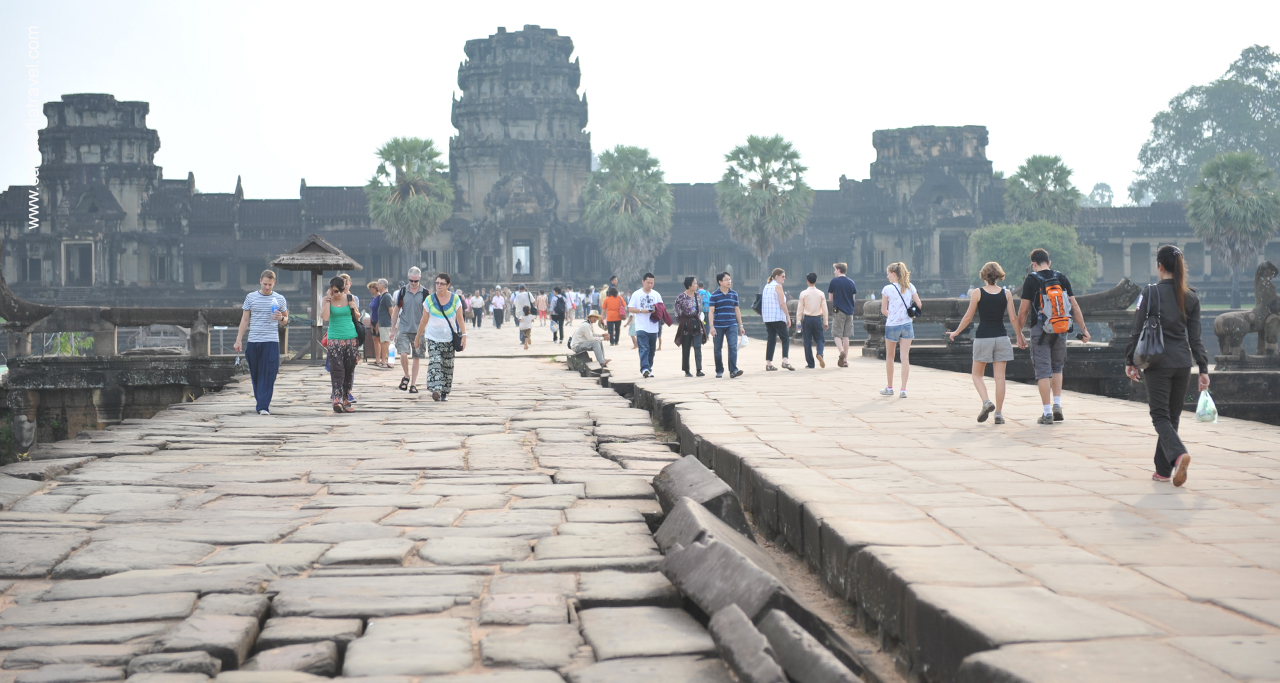 A long causeway leading to the main entrance of Angkor Wat - Angkor temples complex