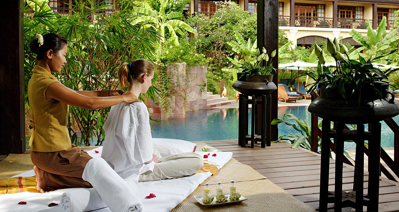 In hot and dry season, tourists are recommended to take short break at the hotel's swimming pool at midday.