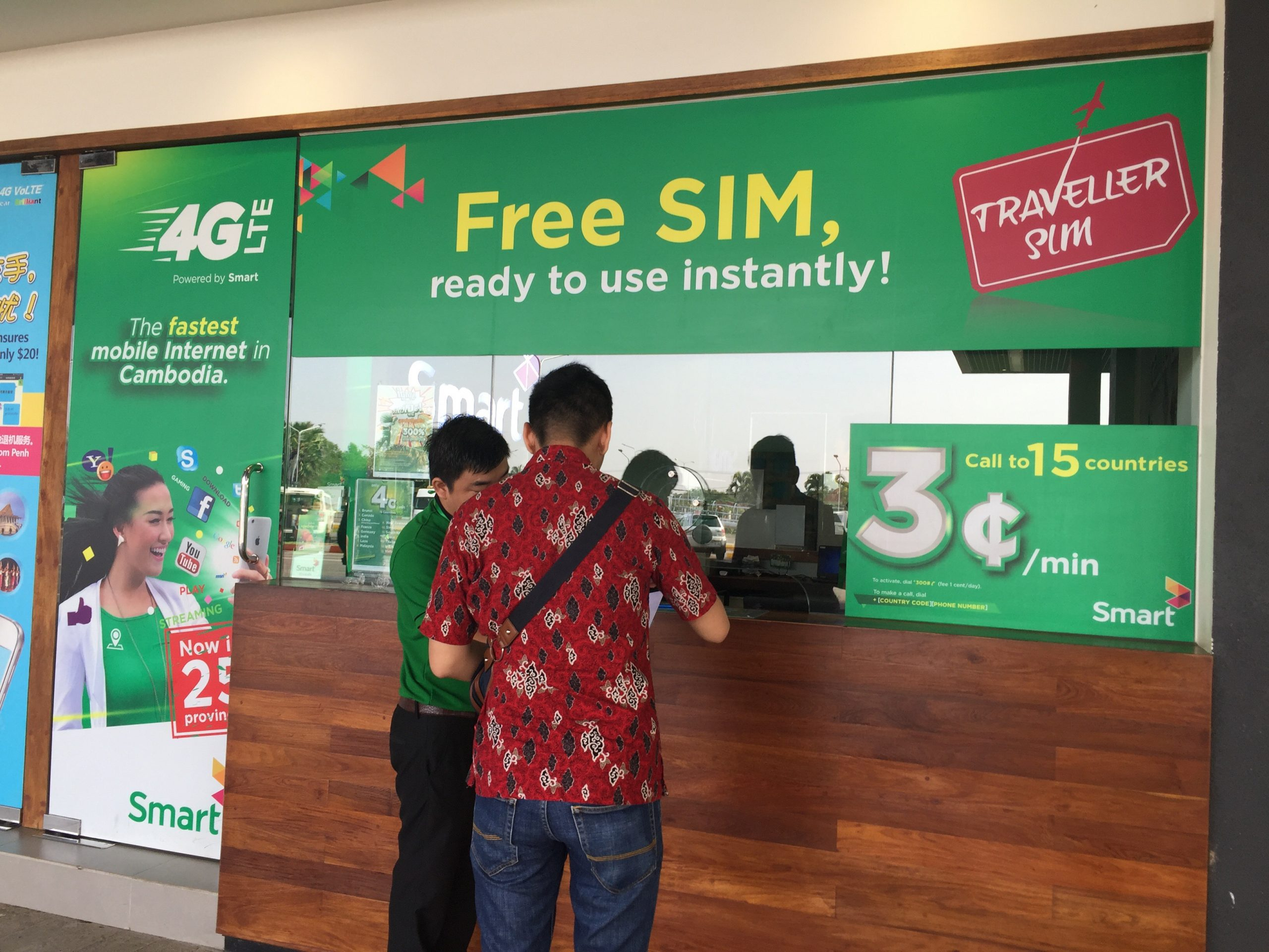 Tourists can easily buy prepaid SIM card in the international terminal arrival.
