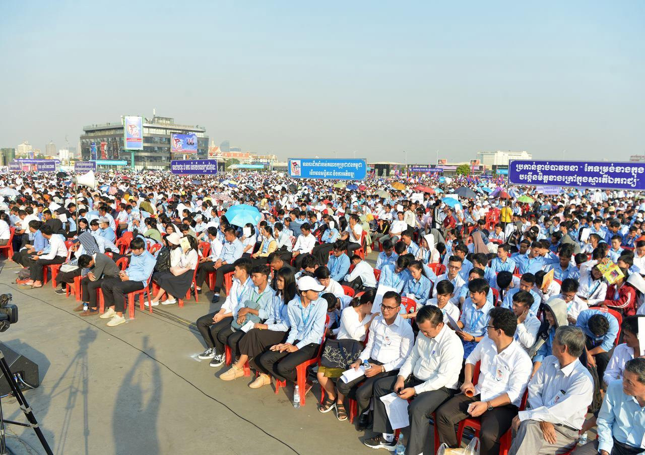 Thousands of local people gather in Cambodia's Victory Day