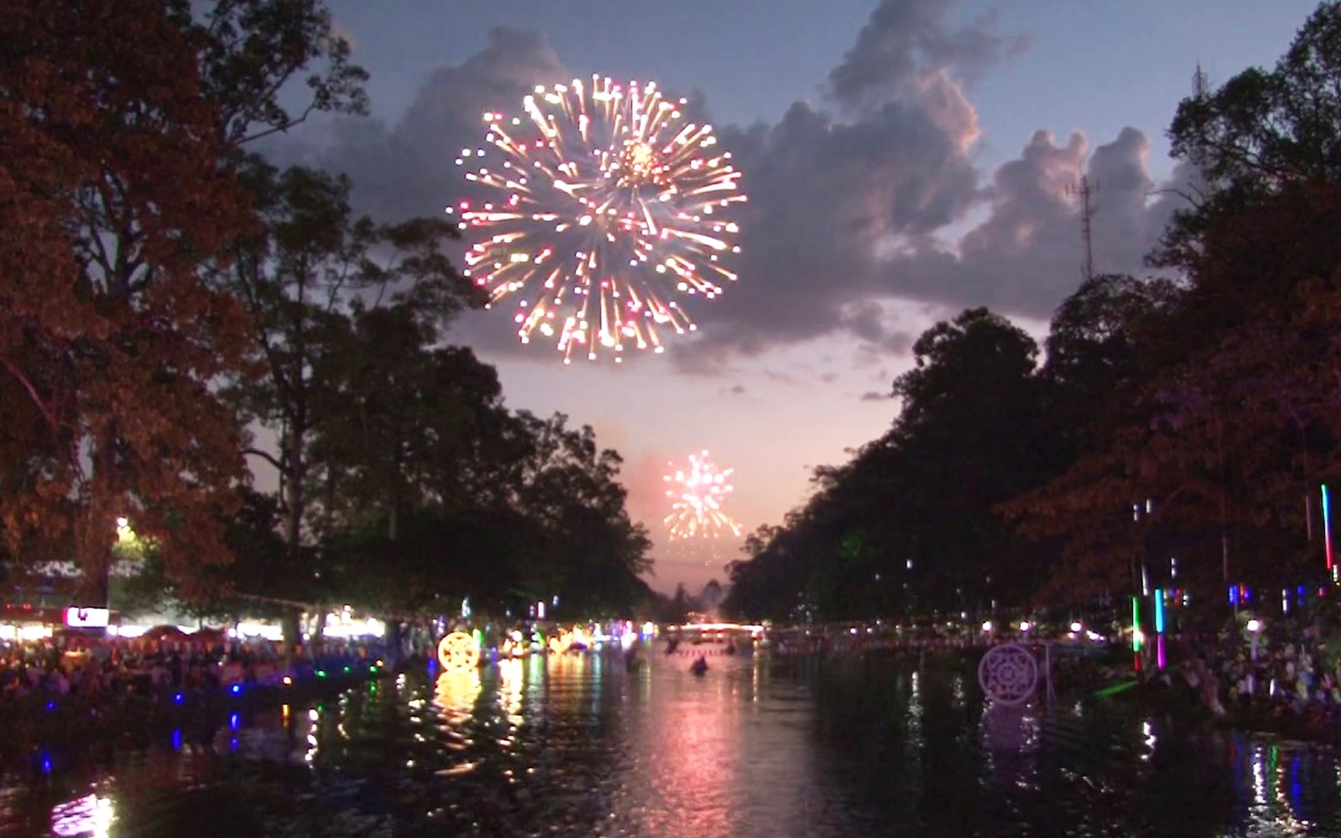 Colorful firework displays in International New Year's Eve.