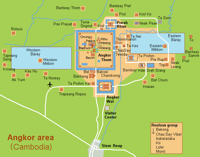 Angkor Thom Location Map