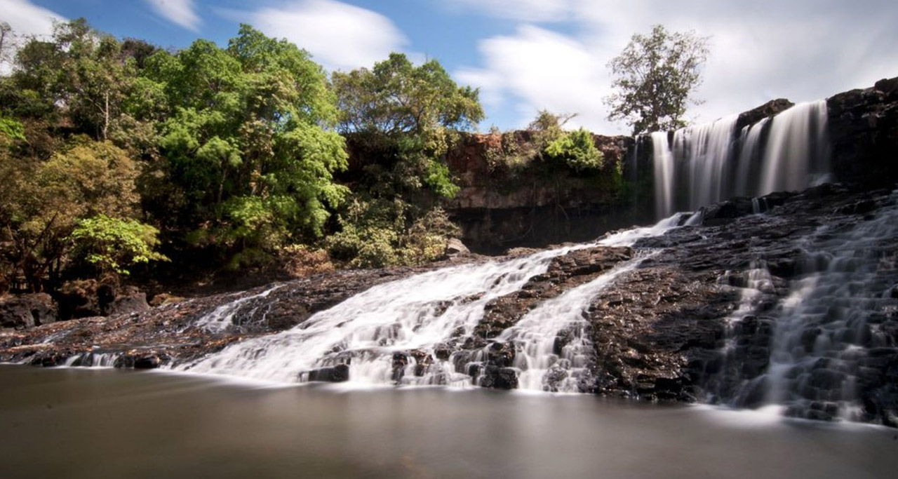 Bousra Waterfall, Mondulkiri is one of the biggest waterfalls in Cambodia