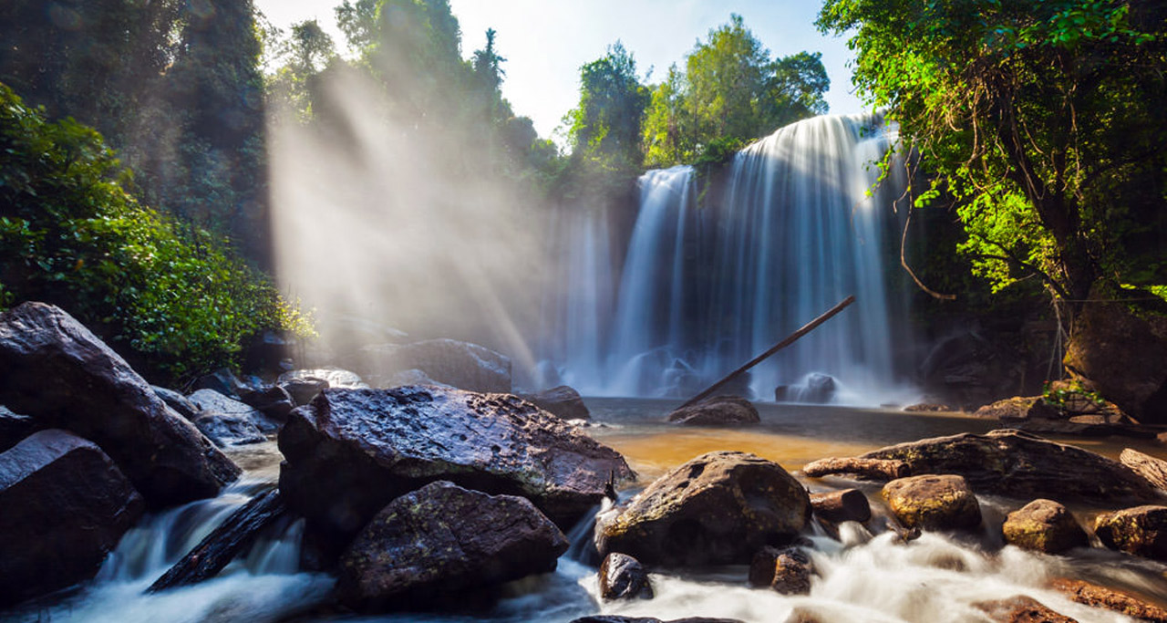 Kulen Mountain or Phnom Kulen Waterfall in Siem Reap. Phnom Kulen is considered by Khmers to be the most sacred mountain in Cambodia